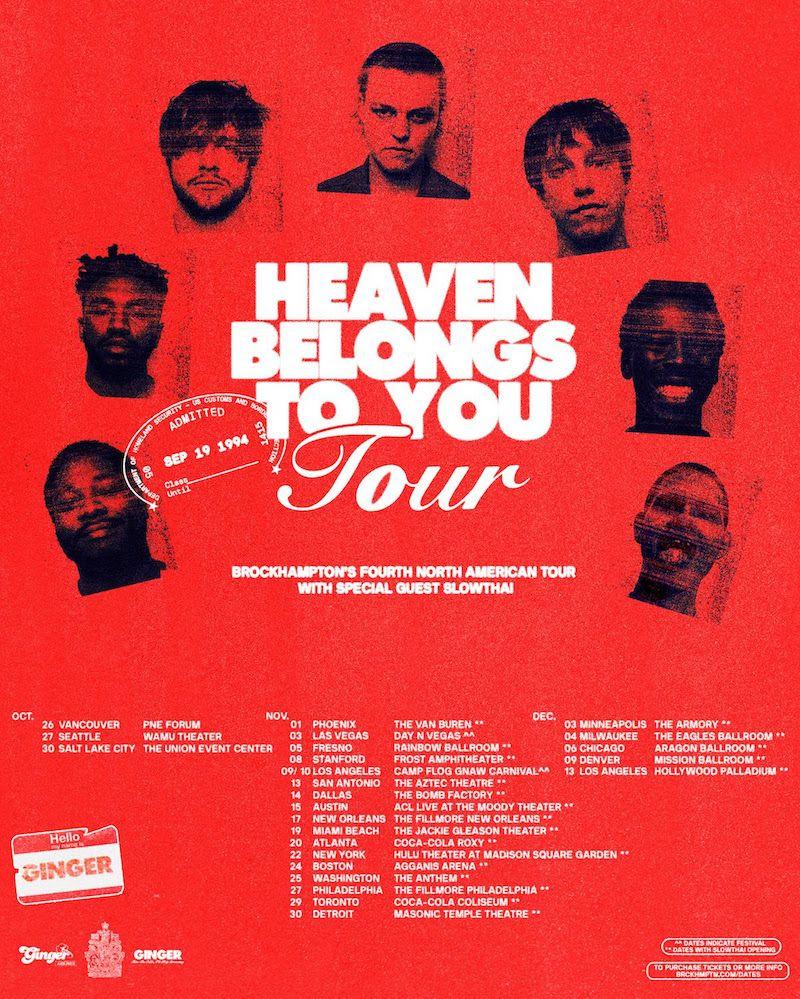 brockhampton Heaven Belongs to You Tour 2019 north american tour dates poster